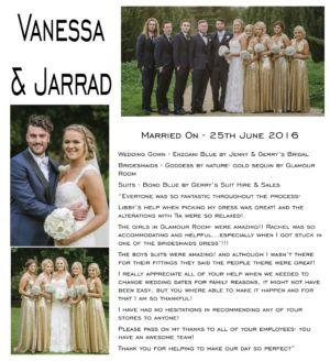 VANESSA & JARRAD WRITE UP